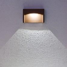Faro da parete, segnapasso a LED bianco, 3W, color ruggine, uso esterno